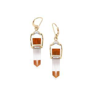Lehrer Cosmic Obelisk Prasiolite, Fire Opal, Optic Quartz Earrings with Diamond in 10K Gold 14.67cts
