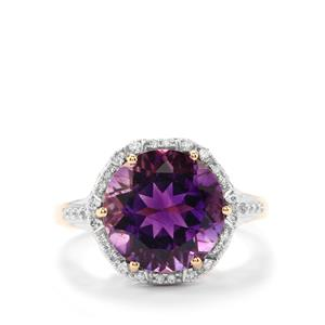 Moroccan Amethyst Ring with Diamond in 18K Gold 4.50cts