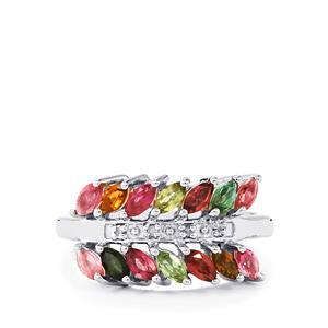 Rainbow Tourmaline & Diamond Sterling Silver Ring ATGW 1.17cts