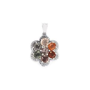 Burmese Multi-Color Spinel & White Topaz Sterling Silver Pendant ATGW 5.05cts