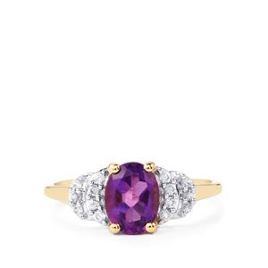 Zambian Amethyst Ring with White Zircon in 10k Gold 1.32cts