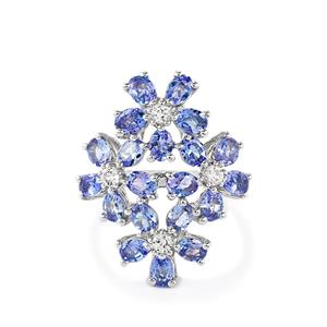 Tanzanite Ring with White Topaz in Sterling Silver 3.22cts