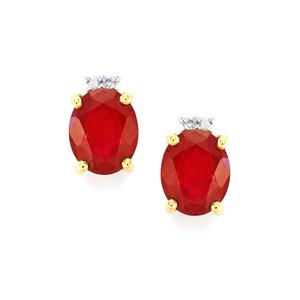 Malagasy Ruby Earrings with Ceylon White Sapphire in 10K Gold 7.95cts (F)