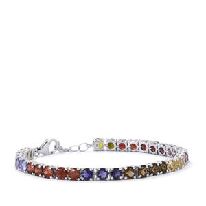 Kaleidoscope Gemstones Bracelet in Sterling Silver 16.19cts