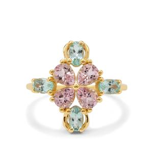 Cherry Blossom Morganite Ring with Aquaiba™ Beryl in 9K Gold 1.90cts