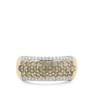 Alexandrite & White Zircon 9K Gold Ring ATGW 1.14cts