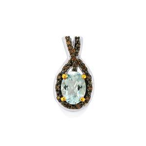 Espirito Santo Aquamarine Pendant with Champagne Diamond in Sterling Silver 1.16cts
