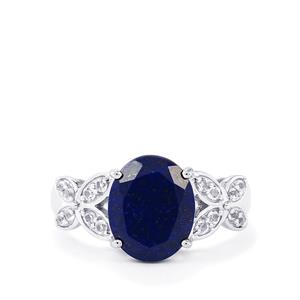 Sar-i-Sang Lapis Lazuli & White Topaz Sterling Silver Ring ATGW 3.72cts