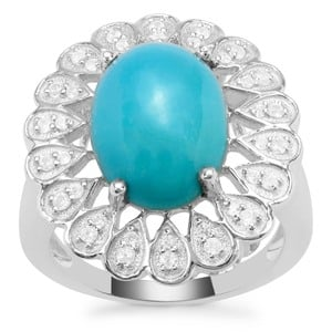 Sleeping Beauty Turquoise Ring with White Zircon in Sterling Silver 4.95cts