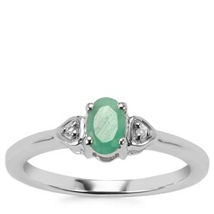 Carnaiba Brazilian Emerald Ring with White Topaz in Sterling Silver 0.46cts