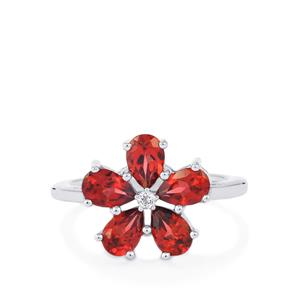 Nampula Garnet Ring with White Topaz in Sterling Silver 2.49cts