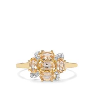 Ouro Preto Imperial Topaz & White Zircon 9K Gold Ring ATGW 1.33cts