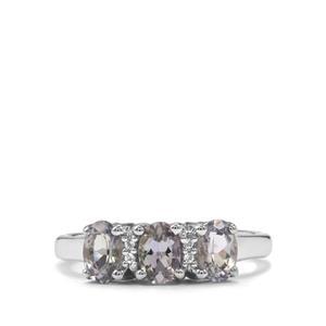 Bi Colour Tanzanite & White Topaz Sterling Silver Ring ATGW 1.15cts