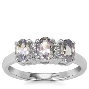 Bi Colour Tanzanite Ring with White Topaz in Sterling Silver 1.15cts