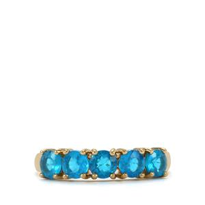Neon Apatite Ring with WhiteZircon in 9K Gold 1.29cts