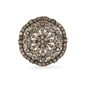 5ct Champagne Diamond Sterling Silver Brooch