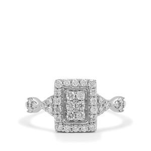 Russian VSi Diamond Ring in 9K White Gold 0.51ct
