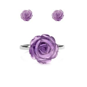 5ct Ametista Amethyst Sterling Silver Set of Ring & Earrings