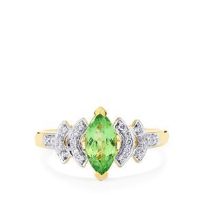 Merelani Mint Garnet & Diamond 14K Gold Tomas Rae Ring ATGW 1.18cts