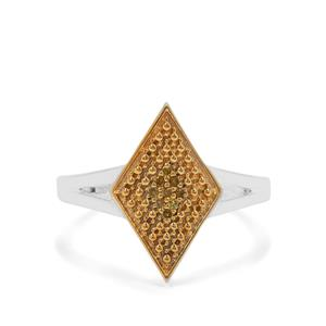 Yellow Diamond Ring in Sterling Silver