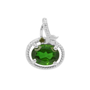 Chrome Diopside, Green Tourmaline Pendant with Whte Zircon in Sterling Silver 1.37cts