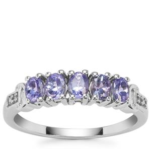 AA Tanzanite Ring with Diamond in Sterling Silver 0.94ct