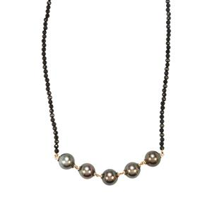 Tahitian Cultured Pearl Necklace with Black Spinel in 9K Gold (11 x 10mm)