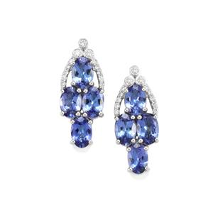 AAA Tanzanite Earrings with Diamond in 18K White Gold 3.86cts