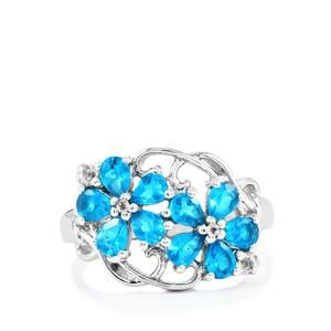 Neon Apatite Ring with White Topaz in Sterling Silver 1.55cts