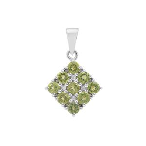 Changbai Peridot Pendant with White Zircon in Sterling Silver 1.83cts