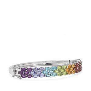 Rainbow Gemstones VIBGYOR Bangle in Sterling Silver 11.62cts