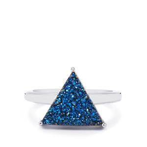 4.12ct Titanium Blue Drusy Sterling Silver Ring