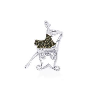 0.57ct Black Spinel Sterling Silver Brooch