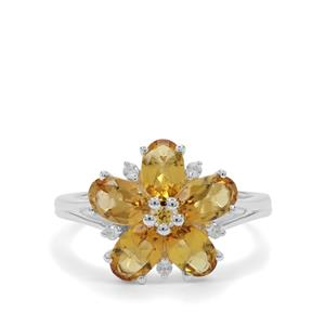 Scapolite, Yellow Sapphire & White Zircon Sterling Silver Ring ATGW 2.17cts