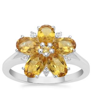 Scapolite, Yellow Sapphire Ring with White Zircon in Sterling Silver 2.17cts