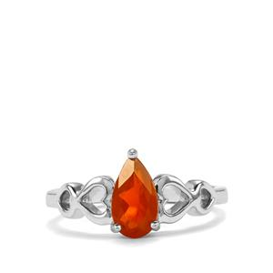 American Fire Opal Sterling Silver Ring