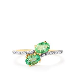 Zambian Emerald & Diamond 9K Gold Ring ATGW 0.84cts