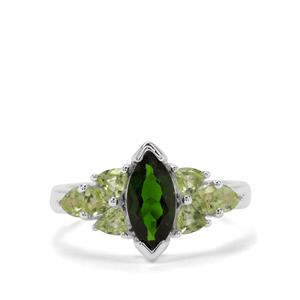 Chrome Diopside & Peridot Sterling Silver Ring ATGW 1.95cts