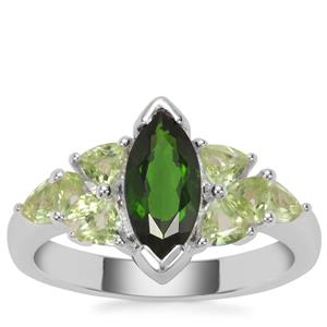 Chrome Diopside Ring with Peridot in Sterling Silver 1.95cts