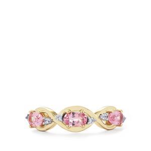 Sakaraha Pink Sapphire Ring with White Zircon in 10K Gold 0.97ct