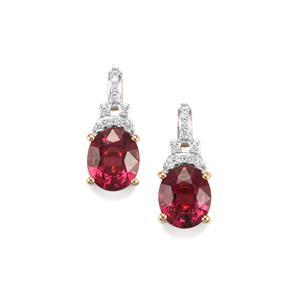 Malawi Garnet Earrings with Diamond in 18K Gold 4.23cts