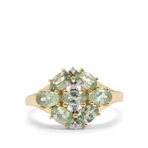 Alexandrite Ring with Diamond in 10K Gold 1.97cts
