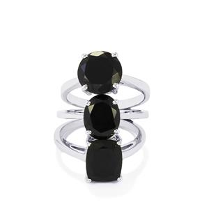 11.76ct Black Spinel Sterling Silver Set of Three Rings