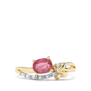 Padparadscha Sapphire & Diamond 9K Gold Ring ATGW 0.97cts