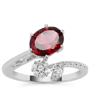 Mahenge Garnet Nora Saul Ring with White Zircon in Sterling Silver 2.62cts