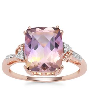 Anahi Ametrine Ring with White Zircon in 9K Rose Gold 3.78cts