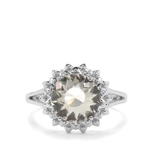 Lotus Cut Prasiolite Ring with White Topaz in Sterling Silver 3.47cts