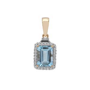 Nigerian Aquamarine Pendant with Diamond in 18K Gold 1.50cts