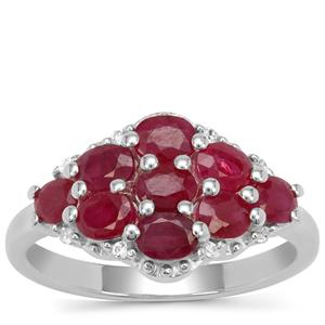 Burmese Ruby Ring with White Zircon in Sterling Silver 2.15cts