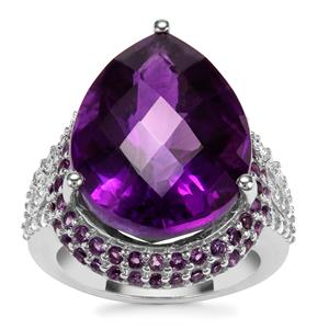 """""""The Jewel of Africa"""" Zambian Amethyst Ring with White Zircon in Sterling Silver 18.53cts"""